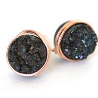 Rose Gold Black Druzy Post Stud Earrings