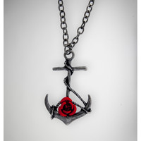 Silver Anchor Red Rose Necklace