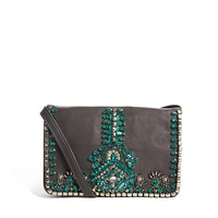 Leather Cross Body Bag With Emerald Jewel Detail