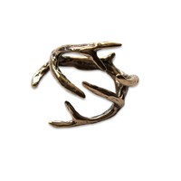 Moon Raven Designs - Whitetail Deer Antler Adjustable Ring - Solid Cast Bronze, Sterling Silver Plated White Bronze or Solid Sterling Silver - Sizes 4 to 9 - Fashion Jewelry