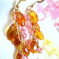 Orange and pink Swarovski crystal gold filled chandelier earrings