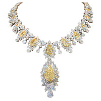 Incredible Yellow and White Diamond Necklace