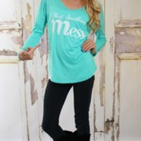 Hot Southern Mess Top Mint - Modern Vintage Boutique