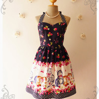 Vintage Inspired Dress Tea Dress Navy Kitten Dress The Cat Dress Cute Frock Party Dress -Size XS,S,M,L,CUSTOM-