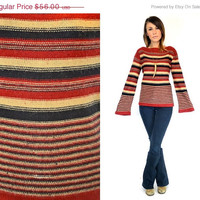 25% OFF SALE HORIZONTALLY Striped hippy bell sleeve Bohemian pullover sweater, extra small-small