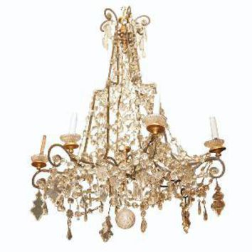 Kevin Stone Antiques - Italian 18the Century Gilt Iron And Crystal Chandelier - 1stdibs