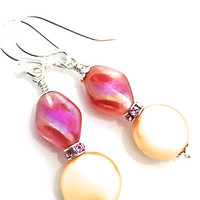 Gold Pearl Earrings, Drop, Pink, Coin Pearl, Swarovski, Vegan