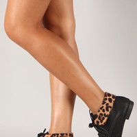 Korsa-02 Leopard Collar Round Toe Lace Up Bootie