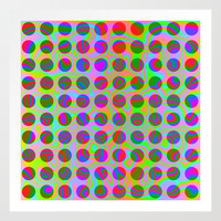 Psychedelic Rainbow Spots Pattern Art Print by Hippy Gift Shop