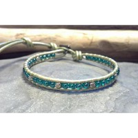 Leather Wrap Bracelet, Skinny Bracelet, Jade Czech Glass