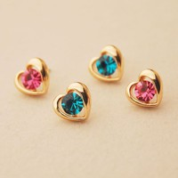 Shiny Heart Colorful Rhinestone Fashion Earrings