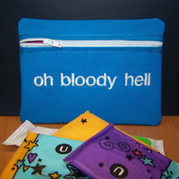 Oh Bloody Hell Tampon & Maxi Pad Holder Blue Zippered Fabric Purse Pouch / Tampon Keeper