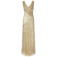 Buy Ariella Juliet Sequin Long Dress, Gold online at John Lewis