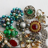 Vintage Broken / Mismatched Jewelry Lot - Mid Century Beaded, Rhinestones, Glass, Earring Craft Lot / Destash Jewel Lot