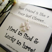 Best Friend Gift,Christmas Gift For Best Friend,4 Leaf Clover Necklace With Card,Four Leaf Clover Necklace,Birthday gift,Shamrock,BFF Gift