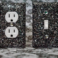 SET of 2 Starry Night Glitter Switch Plate / Outlet Covers ANY STYLES