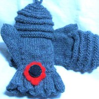 Wool Half Finger Gloves With Hoodie in Wool With Hand Felted Flower