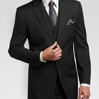 JONES NEW YORK BLACK MULTISTRIPE VESTED SLIM FIT SUIT