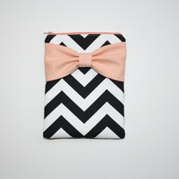 iPad Case - Android - Microsoft Tablet Sleeve - Black and White Chevron Peach Bow - Padded