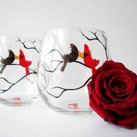 Love Birds Stemless Wine GlassesSet of 2 by marywibis on Etsy