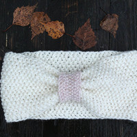 White ear warmer, gold pink mohair winter accessory, cute warm wool headband