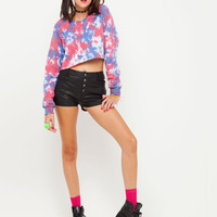 Motel Crop Sweat in Multicoloured Tie Dye Print