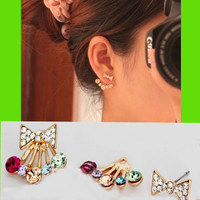 Bow And Rhinestone Rainbow Wrapping Ear Cuffs