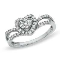 1/3 CT. T.W. Diamond Heart Duchess Ring in 10K White Gold