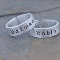 Batman and Robin hand stamped ring - Best Friends rings - couples rings - ring set