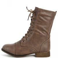 Beyonce-62 Brown Lace Up Combat Boots | MakeMeChic.com