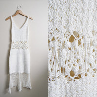 Flowers in Your Hair - Vintage 70s White Crochet Cutout Dress Boho Beach Wedding