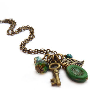 Skeleton Key Necklace - Emerald Green Picasso Glass - Bronze Leaf