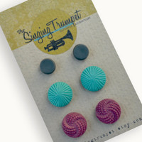 CHRISTMAS SALE. Earring Set. Grey Disc Stud Earrings, Teal Vintage Button Studs and Plum Vintage Knot Studs.