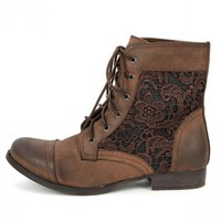 Prima-01 Brown Lace Ankle Boots | MakeMeChic.com