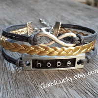 Hope bracelet,infinity bracelet,golden leather bracelet,couples bracelet,hipsters jewelry,braided bracelet,charm bracelet,gray rope bracelet