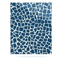 "Kess InHouse Project M ""British Mosaic Navy"" Aluminum Floating Art Panels, 16 by 20-Inch"