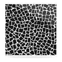 "Kess InHouse Project M ""British Mosaic Black"" Aluminum Floating Art Panel, 8 by 8-Inch"