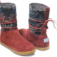 Burgundy Suede Jacquard Women's Nepal Boots