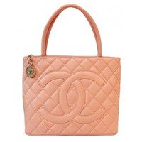 Chanel Soft Peach Quilted Caviar Leather Gold Medallion Tote Bag