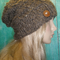 Slouchy Beanie Hat Winter Basket Weave Hand Knit Toasty Warm Brown Tweed Oversized Woodsy With Wood Button