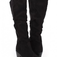 Black Faux Suede Slouchy Knee High Heel Boots