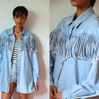Vtg Fringed Light Blue Denim Button Up Oversize LS Shirt