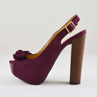 Qupid Enclose 23A Purple Snake Suede Peep Toe Sandal