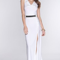 White Draped Neckline Slit Side Sexy Maxi Dress
