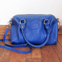 STOREWIDE SALE... Vintage blue leather Terzetto shoulder strap purse / satchel bag