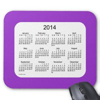 Purple and White 2014 Calendar Mouse Pads