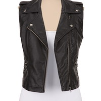 Faux leather zip front vest