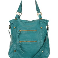 Two Zipper Washed Crossbody Bag