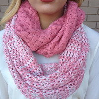 Pink Thick Knit Infinity Scarf