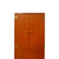 Vintage Doll Wardrobe Closet Wood Handmade in 1959 - Stores Doll Sized Clothing and Accessories